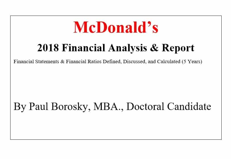 McDonald's Financial Report by Paul Borosky, MBA.