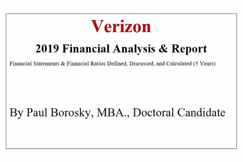 Verizon Financial Report by Paul Borosky, MBA.