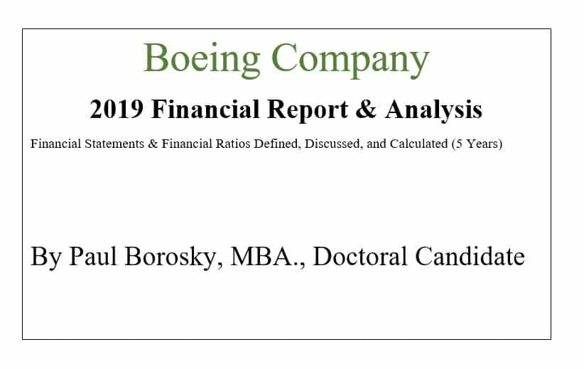 Boeing Financial Report by Paul Borosky, MBA.
