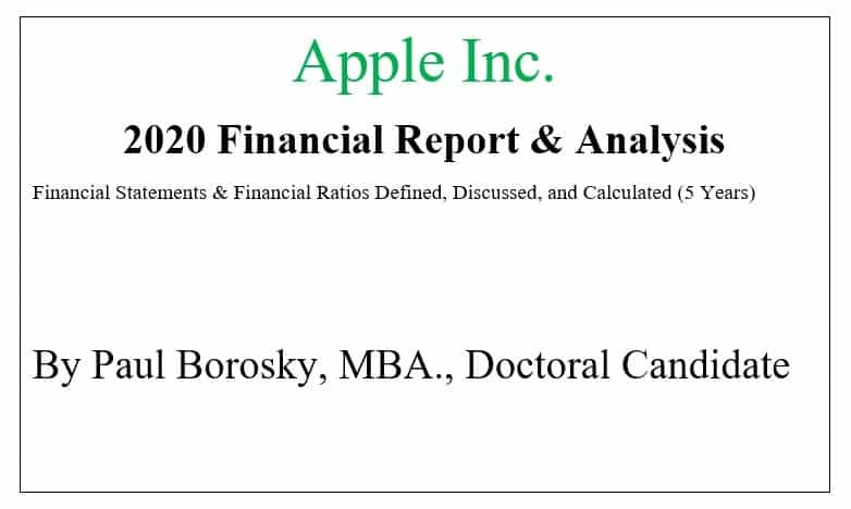 Apple 2020 Financial Report by Paul Borosky MBA.
